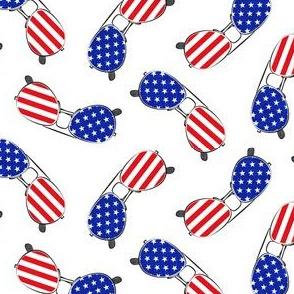 flag sunglasses - white - LAD21