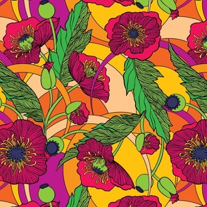 """Flower Power Poppies - 16"""" Large Scale"""
