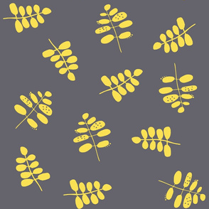 Yellow Stems on Grey Background Pantone Colors 2021 - Large Scale