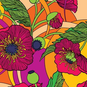 """Flower Power Poppies - 12"""" repeat"""
