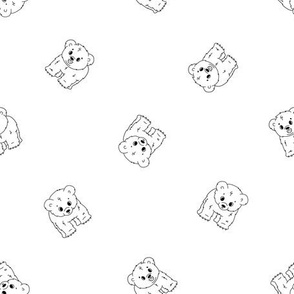 Cute cartoon little kid polar bear cubs, they stands on all legs and smiles