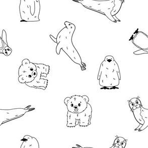 Penguin, king penguin chick, fur seal, polar bear cub, small Common seal
