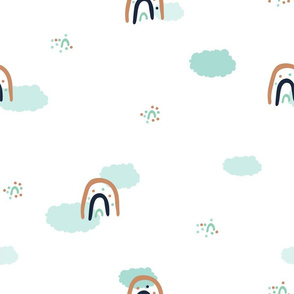 Cute cartoon rainbow and clouds in the sky seamless pattern on white background
