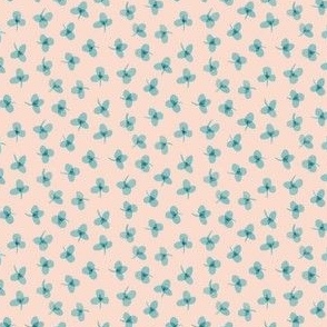 Teal Watercolor Clovers on Light Peach Tiny Scale