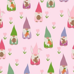 easter gnomes fabric - cute springtime tomten - pink
