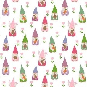 SMALL easter gnomes fabric - cute springtime tomten - white