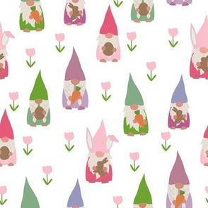 easter gnomes fabric - cute springtime tomten - white