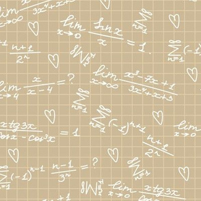 handwritten white mathematical formulas, calculations on squared paper