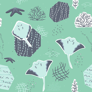 Cartoon stingray, starfish characters with algae, corals seamless pattern