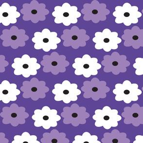 Purple and White Flower Pattern Retro