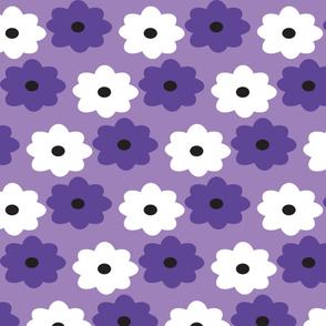 Purple and White Flower Pattern Lavender Background Retro