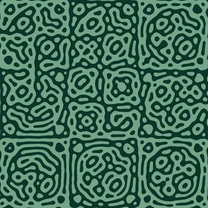checkered mudcloth Turing pattern 4 - succulent green