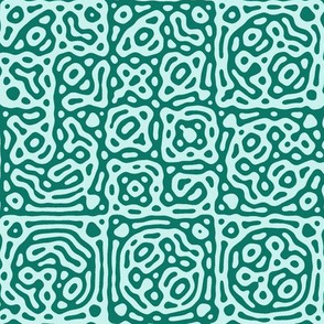 checkered mudcloth Turing pattern 4 - spruce green and pale blue