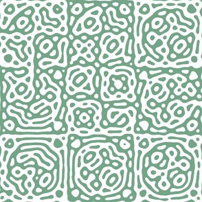 checkered mudcloth Turing pattern 4 - white and soft green