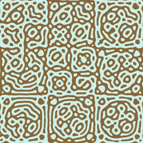checkered mudcloth Turing pattern 4 - antique blue and brown