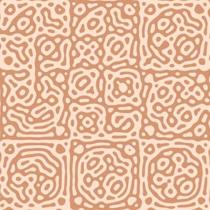 checkered mudcloth Turing pattern 4 - terracotta and pale pink