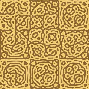 checkered mudcloth Turing pattern 4 - wheat brown and gold