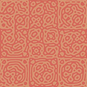 checkered mudcloth Turing pattern 4 - coral and terracotta