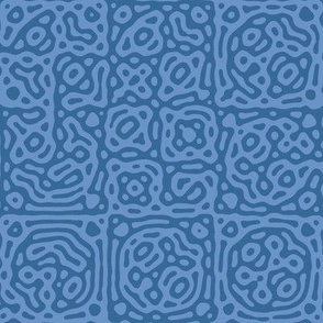 checkered mudcloth Turing pattern 4 - twilight blues