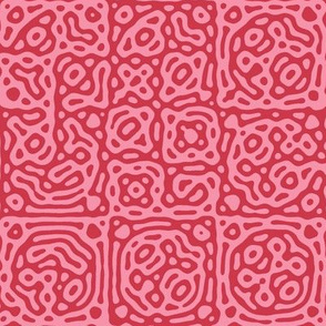 checkered mudcloth Turing pattern 4 - red and pink