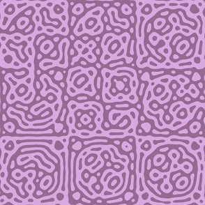 checkered mudcloth Turing pattern 4 - twilight pink and mauve