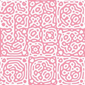 checkered mudcloth Turing pattern 4 - pink and white