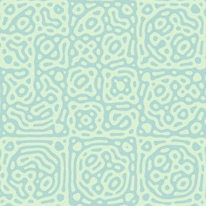 checkered mudcloth Turing pattern 4 - pale mint