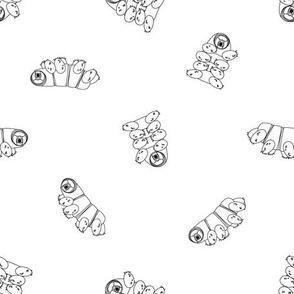 white outline cartoon cute happy Tardigrade with black border