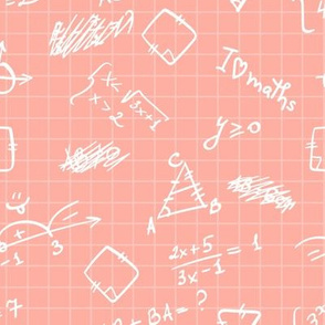 Hand drawn white mathematical formulas, figures, calculations on squared paper