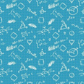 Hand drawn blue mathematical formulas, figures, calculations on squared paper
