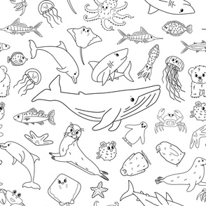Black white sea ocean animals