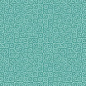 tiny checkered mudcloth texture 4 - spruce green and light blue