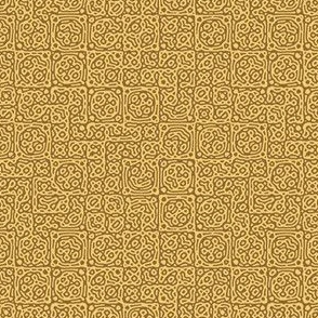 tiny checkered mudcloth texture 4 - wheat brown and gold
