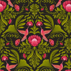 Hummingbird Damask on Dark - Regular  Scale