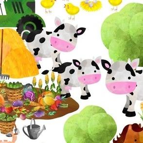 busy barn watercolor animals