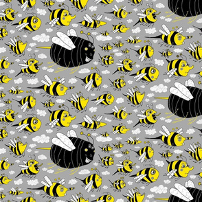 traffic jam, bee style! medium large scale, yellow gray grey black white