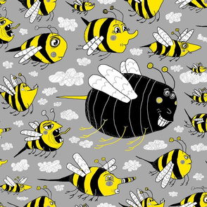 traffic jam, bee style! jumbo large scale, yellow gray grey black white