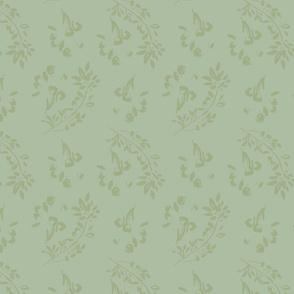 3G painterly artistic classic fauna green tonal cottage style farmhouse garden  TerriConradDesigns