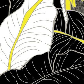 Jumbo Tropical Banana Grove-black white yello