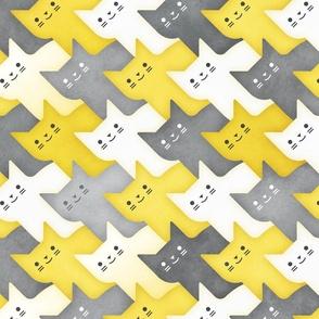 Diagonal Cats Gray and Yellow