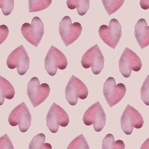 Watercolor Hearts Pink on Light Pink