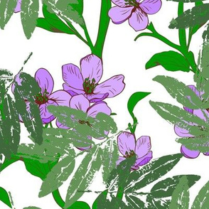 Purple Flowers On Green Vines