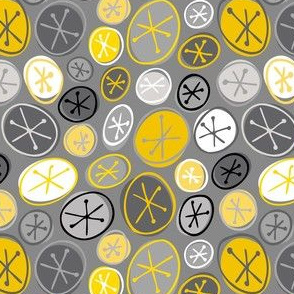 Mid-century Stars in Circles_Gray and Yellow