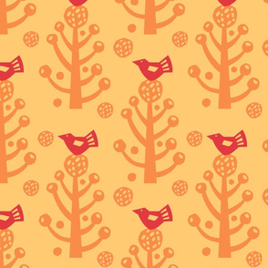 Red Birds on a Plant