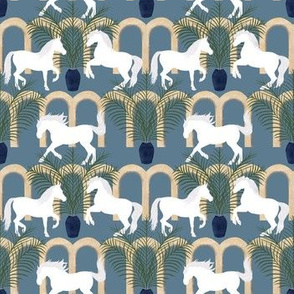 Arabian Horses on Blue