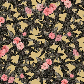Vintage Pink Flowers - Small Scale (Yellow)