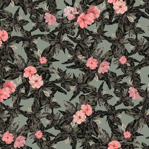 Vintage Pink Flowers - Small Scale (Lighter Green)