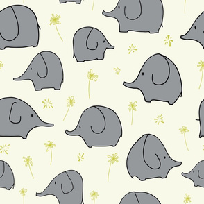 grey_elephants_and_yellow_flowers