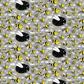 traffic jam, bee style! small scale, yellow gray grey black white