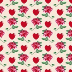 vintage Roses and hearts